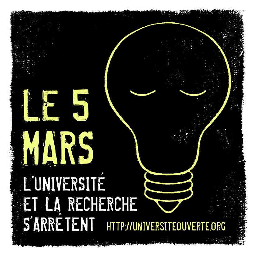 image from Le 5 Mars l'Université et la Recherche s'arrêtent