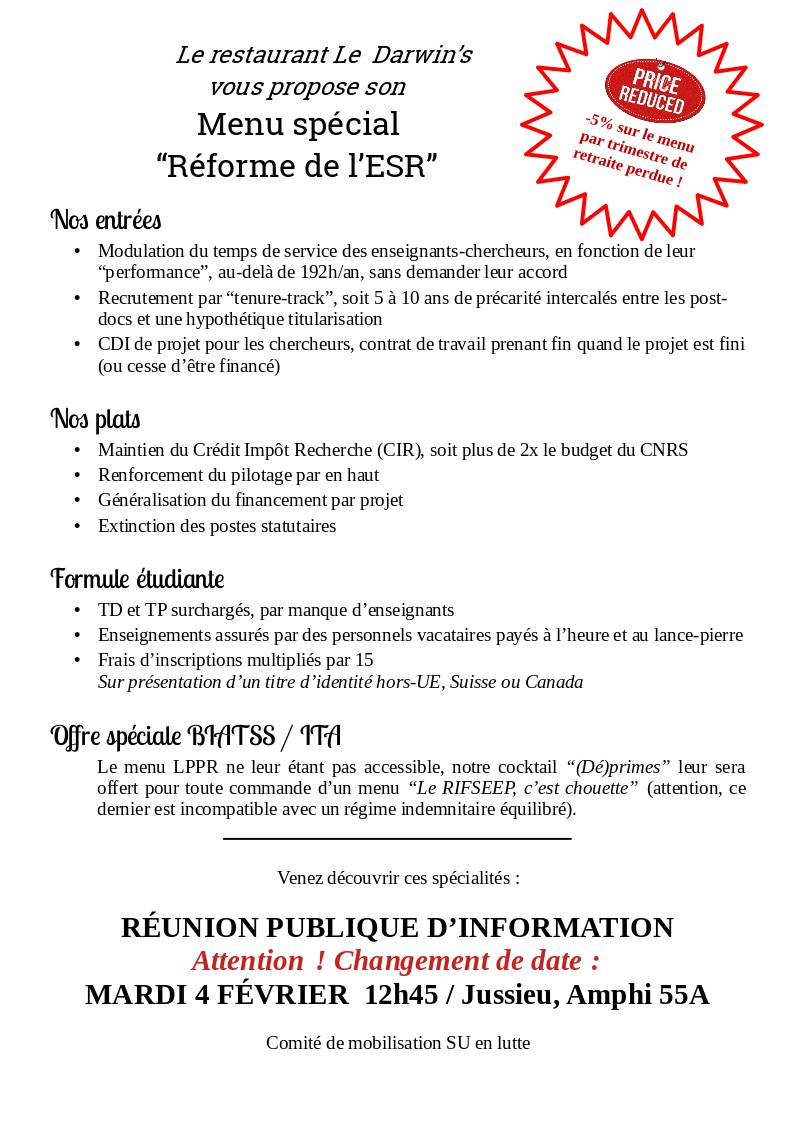 image from Mardi 4 février - Réunion publique d'information sur la réforme de l'ESR
